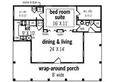 Southern 1 Beds 1 Baths 848 Sq/Ft Plan #45-253 Main Floor Plan - Houseplans.com