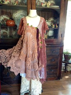 Luv Lucy crochet dress Mocha Rose by LuvLucyArtToWear on Etsy, $295.00