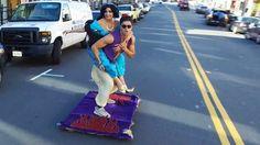 Aladdin Riding Carpet Skateboard Through San Francisco