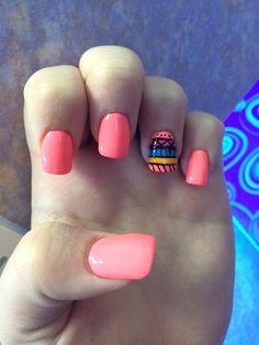 Neon orange with tribal on ring finger