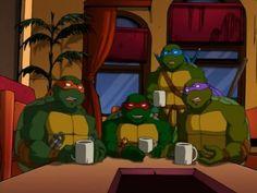 The guys enjoying hot cocoa. Ninja Turtles Shredder, Ninja Turtles Art, Teenage Mutant Ninja Turtles, Dbz Characters, Turtle Love, Heart For Kids, Animation, Fan Art, Disney