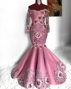 Elegant Aso Ebi Flower Mermaid Evening Dresses 2019 Full Sleeves Off The Shoulder Lace African Evening Gowns African Lace Styles, African Lace Dresses, Latest African Fashion Dresses, African Print Fashion, Ankara Styles, Nigerian Lace Styles, African Wedding Attire, African Attire, Nigerian Dress