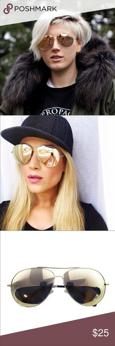 "New Gold Mirrored Aviator Sunglasses Summer is coming and spring is here! Protect your eyes while wearing these stylish sunglasses 😎. 2.43 W by 2"" L. Accessories Sunglasses"