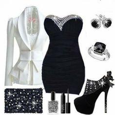 Adorable white blazer, black blouse, handbag and high heels