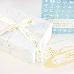 Make your winter gift golden – with Bow & Hummingbird wrapping paper, satin ribbons and greeting cards