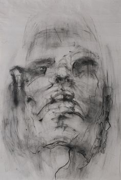 yunacho/   from 50 series (self portrait)/charcoal on newsprint using fabric/