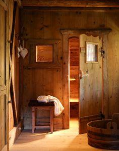 Entrance to sauna at the San Lorenzo Mountain Lodge in San Lorenzo di Sebato, Italy designed by Giorgia and Stefano Barbini Cabin Interior Design, House Design, Interior Ideas, Design Design, Salons Cosy, Sauna Design, Log Cabin Designs, Cabin In The Woods, Sauna Room