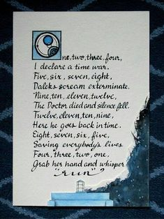 One, two, three, four Doctor Who Poem, Doctor Who Nursery, Don't Blink, Time Lords, Dr Who, Geek Chic, Superwholock, Mad Men, Nursery Rhymes