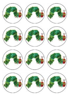 EDIBLE VERY HUNGRY CATERPILLAR CUPCAKE TOPPERS or Cookie Toppers Edible Image for Birthday party or Baby Shower