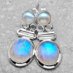 Sale! Moonstone and Pearl Sterling Silver Earrings