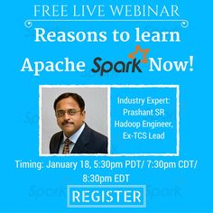 Free Live Webinar: Reasons to Learn Apache Spark Now! Apache Spark, Data Processing, Data Science, Big Data, Engineering, Watch, Learning, Live, Youtube