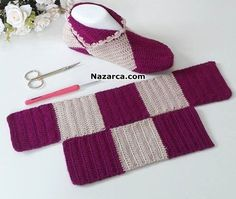 Simple Step by Step Slippers Tutorial - Crochet, Sockenstricken, Stricken, S Crochet Slipper Pattern, Knitted Slippers, Crochet Slippers, Crochet Gifts, Crochet Baby, Knit Crochet, Filet Crochet, Crochet Stitches, Knitting Socks