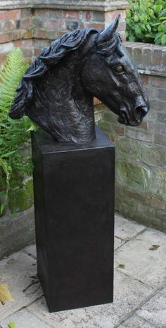 Bronze resin, cold cast bronze #sculpture by #sculptor Camilla Le May titled: 'Horse Head and Plinth (Bronze Cob Bust sculptures)'. #CamillaLeMay