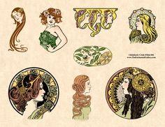 Vintage Art Nouveau women miniature domino or bamboo tile rubber stamps Art Nouveau Tiles, Art Deco, Vintage Art, Vintage World Maps, Art For Art Sake, Art Google, Logo Inspiration, Miniatures, Drawings