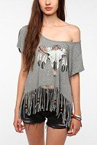 Junk Food Fringed Skull Tee