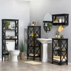 This bathroom storage collection is modern in style and saves so much space. Neatly stow your bathroom accessories like towels and toiletries while showcasing candles, books, and other small pieces on the shelves.