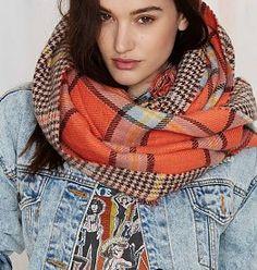 Sjaal Tartan Twist Oranje