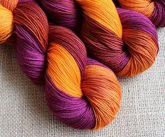 Dragon Kiss - Hand dyed, short row gradient yarn.
