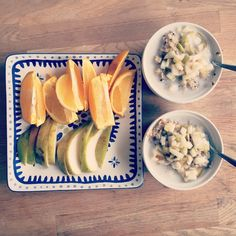 Vega breakfast: Oatmeal with quinoa, ground flax, chia seeds, brown sugar, almond milk, and cut up pears. With a side of pear and orange.