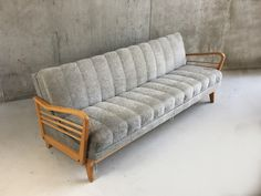 Danish Mid Century Grey Velour Sofa Bed with Beech Frame Sofa Bed With Storage, Under Bed Storage, Retro Furniture, Sofa Furniture, Settee Sofa, Couch, Velour Sofa, Danish Sofa, Sofa