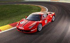 フェラーリ458Challenge, 2017, スポーツカー, レーシングカー, イタリア車, 赤, フェラーリ