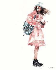 watercolor on paper © kasiq . On The Street Eugenia . Watercolor Drawing, Watercolor Portraits, Watercolor Illustration, Watercolor Paintings, Illustration Mode, Illustrations, Drawing Sketches, Art Drawings, Art Aquarelle