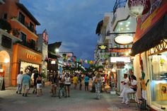 5th Avenue at night, Playa del Carmen, Mexico