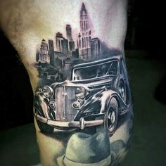Gangster Mens Lower Leg Tattoo With Vintage Car And City Skylien Design