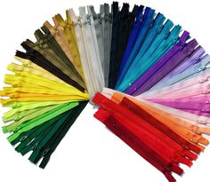 Zipperstop Wholesale YKK® Ykk-made in Usa- 54 Assorted Nylon Coil Zippers Tailor Sewer Craft 7 Inch Crafter's Special - Made in USA Sewing Projects, Craft Projects, How To Make Ribbon, Off Colour, Rainbow Colors, Bright Colors, 9 And 10, Color Mixing, Arts And Crafts