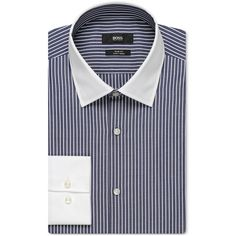 Boss Men's Slim-Fit Contrast Dress Shirt ($155) ❤ liked on Polyvore featuring men's fashion, men's clothing, men's shirts, men's dress shirts, navy, old navy mens shirts, mens slim fit shirts, mens navy blue dress shirt, mens slim shirts and mens french cuff shirts