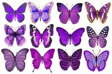 12 Purple Butterflies Edible Rice/Wafer Paper Cupcake/Cake Topper