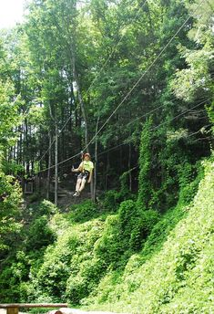 Gatlinburg Ziplines Family Adventure: 27 exciting and challenging elements-13 indoor elements and 14 treetop adventures overlooking Gatlinburg.  Escape to Times Past when you stay with My Bearfoot Cabins.