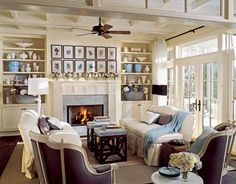 Living Room Design Ideas and Photos - Decorating Ideas for Living Rooms - Country Living-this living room incorporates shades of blue, cream, and gray throughout. Buttery-colored paint highlights the architectural details Decor, Home And Living, Cozy Living Rooms, Living Room Designs, Home Decor, Country Living Room, Room Design, Room Decor, Country Style Living Room