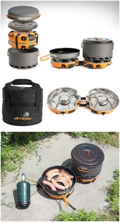 """Compact folding 2-burner stove Jetboil Genesis Base Camp 2 Burner System. With advanced simmer control and 10"""" ceramic coated fry pan for eco-friendly non-stick performance. #affiliate"""