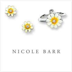 NICOLE BARR ENAMEL DAISY FLOWER DIAMOND EARRINGS