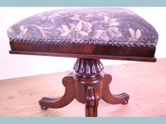 Decorative Home Furnishings: Rosewood piano style stool William iv. Circa 1830. GBP 495. £495.00  Rosewood piano william iv style stool. Standing on swept reeded legs and turned button feet with a carved stylised centre column. The square seat having a cross banded and square mould. The piano stool adjusts up and down via a brass threaded column. Circa 1830