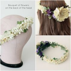 Ivory and Purple Floral Crown Wedding flower by rosesandlemons, $90.00