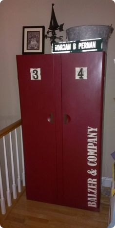 Cabinet makeover to look like Pottery Barn entryway lockers