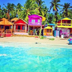 Colorful, tropical Beach-front villas-I want to live here