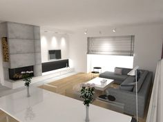 Beton architektoniczny we wnętrzu | Wojsz i Stolc - Projektowanie Wnętrz Gdańsk Living Room Divider, Living Room Interior, Interior Decorating, Interior Design, Modern Fireplace, Basement Renovations, House Roof, Decoration, Interior Architecture