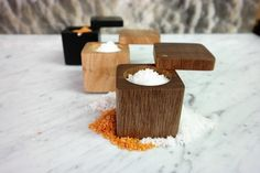 Hand made solid South American hardwood salt pinch box. Made from a single solid piece of ancient tropical hardwood reclaimed from the Atlantic City Boardwalk. Each box is an original creation and wil