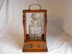 Antique 19th Century English Single Crystal Decanter Tantalus with lock & key