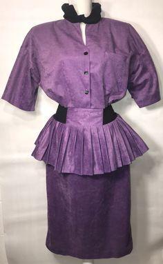 1ced32532 Roe Frocks New York Vintage Peplum Dress Size 14 Purple Black Choker Neck  RARE