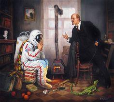 """В.Черкасов """"Революция продолжается""""  «Ленин – это космонавт. Хоккеист. Композитор. Памятник. Он лежит, где каток. От него было много добра. Он – автор метро. Он сделал для народа что-то такое…»"""