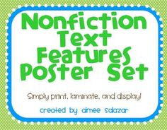 Poster set for Nonfiction Text Features! Created by Aimee Salazar. Library Lessons, Reading Lessons, Reading Skills, Teaching Reading, Teaching Ideas, Library Ideas, Reading Resources, Reading Activities, Educational Activities