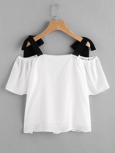To find out about the Contrast Tie Shoulder Chiffon Blouse at SHEIN, part of our latest Blouses ready to shop online today! Girls Fashion Clothes, Teen Fashion Outfits, Stylish Outfits, Fall Outfits, Outfits For Teens, Girl Fashion, Fashion Dresses, Teenager Outfits, Pretty Outfits