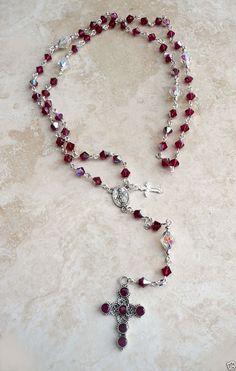 Genuine Swarovski Ruby AB Crystal Silver Rosary W/St.Silver Genuine Ruby Cross #islandgirljewelrydesign