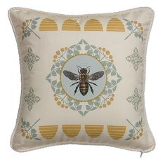Corded Bee Pillow with Yellow Ticking Stripe