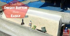 We've finally found a product that significantly cut the time to clean the bottom of the dinghy. Even better -- it's cheap!