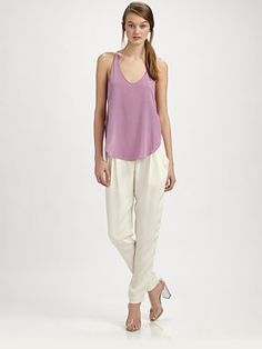 Love the whole look. Need it in champagne. 3.1 Phillip Lim  Silk Ankle Pants @Saks Fifth Avenue